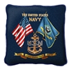 USN Navy Sea Pillow, Made in America, 17 x 17 inches, navy blue, Made in the USA, Military Veteran Gift