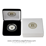 "U.S. Navy Challenge Commemorative Coin, Gold Finish, Blue Enamel, Display Case, Outer Gift Box with White House President Seal, 1.5"" Diameter. From Official White House Gift Shop® Gifts & Historical Store by President Order & U.S. Secret Secret Service."