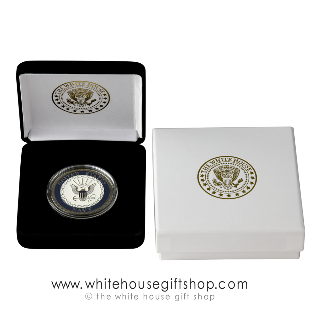 Challenge Coin, USN, United States Navy, Pewter & Enamel, Velvet Display  Case, White House Seal 2-piece Custom Outer Box, 1 5