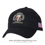 President Trump, Made in America, National Security Council Cotton Hat Situation Room Cap, Made in the USA Hats and Caps, Presidential Seal of the United States, American Flag . USA Made,embroidered, black, Official White House Gift Shop Gifts