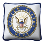NAVY Pillow, Made in the USA, Cotton US Naval Emblem Seal