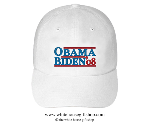Barack Obama and Joseph R. Biden 2008 Hat in White, 44th President of the United States, 46th President of the United States, Official White House Gift Shop Est. 1946 by Secret Service Agents