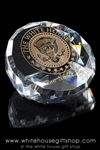 Presidential Eagle Seal White House Crystal Glass Paperweight, Display or Award, etched with gold, in hinged gift presentation box, from official White House Gift Shop, Est.1946.