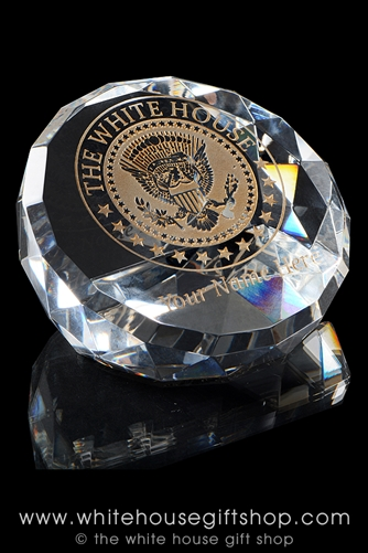 Presidential Eagle Seal White House Crystal Glass Paperweight