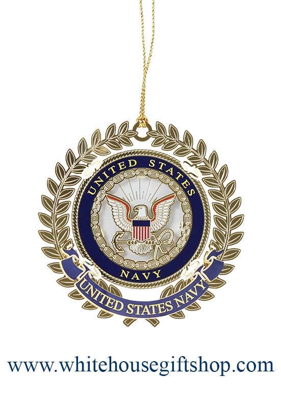 United States Navy Usn Holiday Christmas Ornament Authorized Navy 24kt Gold Finished Wreath Handmade In The Usa