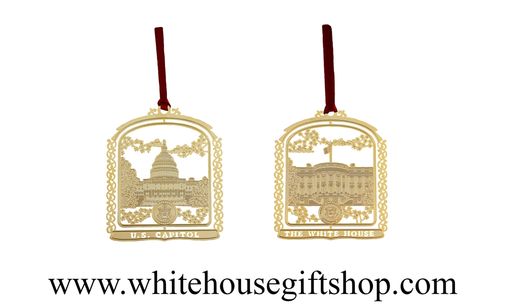 The White House & U.S. Capitol Building Ornament Set, Design by ...