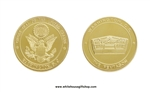 "COIN, THE PENTAGON, GREAT SEAL ON REVERSE, 1.5"" Diameter,Gold Finish, Protective Capsule"