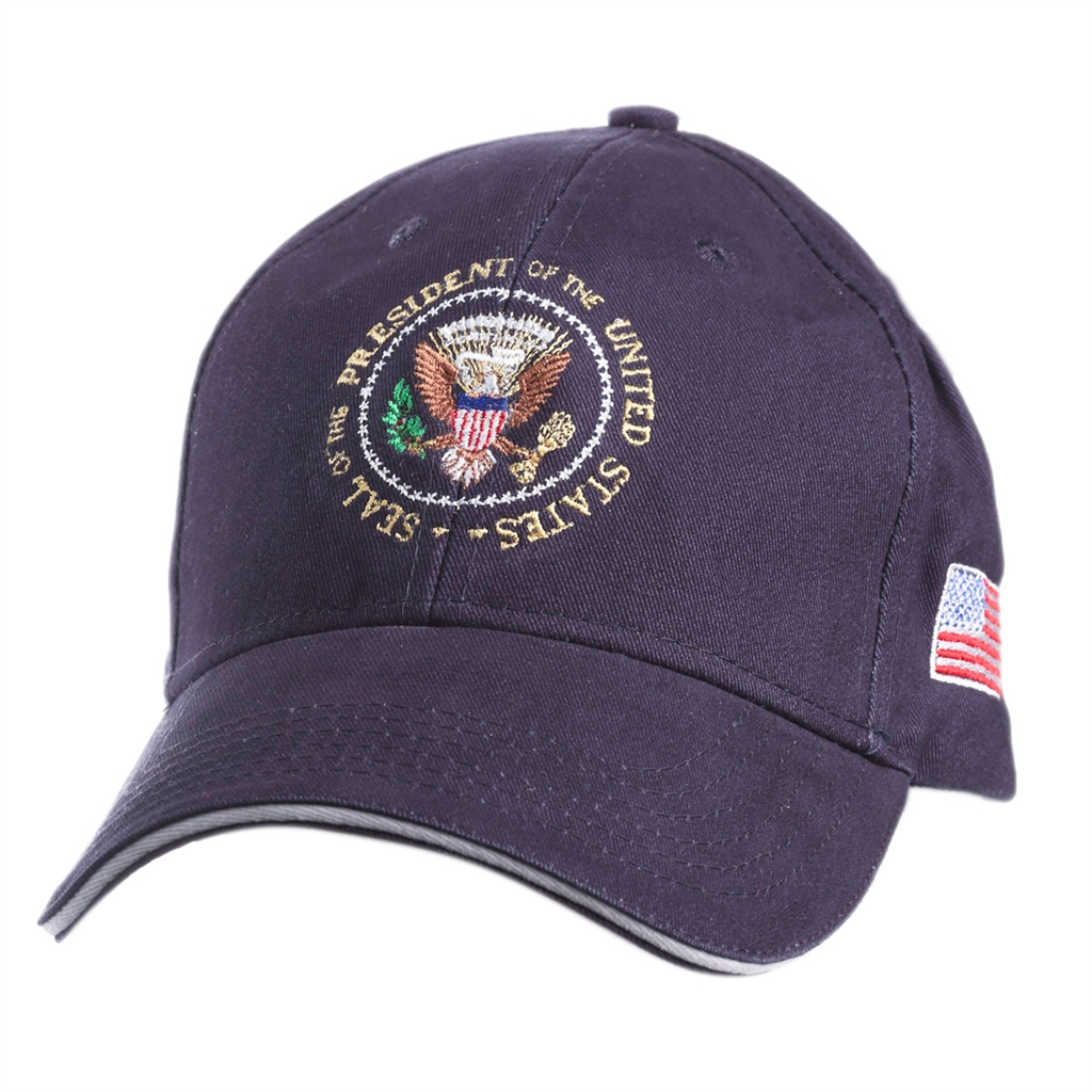 Seal of the President Hat, Navy with White Trim, 100% Made and Embroidered  in USA