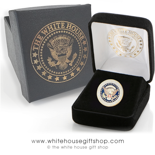Presidential Seal Pin, upgraded quality clasp, custom white house gift box, seal of the President lapel pins