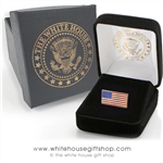 Premium quality American Flag pin, rectangle shape, 3/7 inch by 3/8 inch, gold and enamel finishes, fine clasping clutch, in custom White House jewelry box from original official White House Gift Shop.