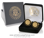 President Trump Cufflinks, Elegant black border with raised Presidential Seal in center