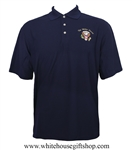 White House Presidential Seal Polo Shirt, Made in America, USA made and embroidered, blended moisture control fabric, high quality wrinkle resistant, midnight navy.