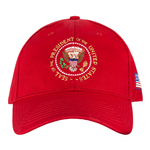 hats-hat-presidents-president-donald-j-trump-seal of the president-100% made in USA-POTUS, republican party red-white embroidery-official-white-house-gift-shop-presidents-gifts-collection-high resolution photo-signed-presidential-certificate