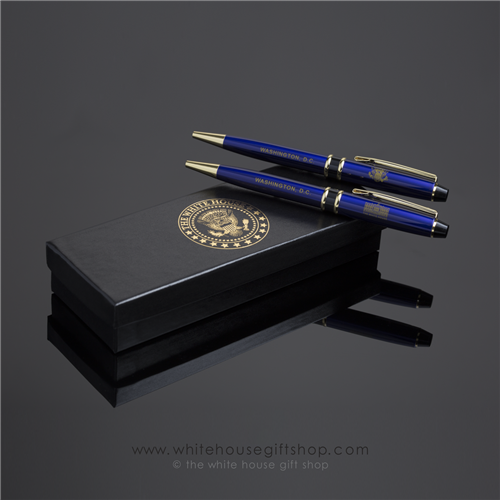 President and White House Pen set with Presidential Seal Pens, in White House Presentation Box. Designed by Artist Anthony Giannini.