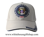 Hats, President of the United States, Washington DC, Presidential Seal, Khaki, Embossed and Embroidered