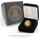 President Lapel Pins, gold, black enamel, dimensional lapel pin with premium clasp, in custom White House jewelry gift box, from the only official White House Gift Shop since 1946.