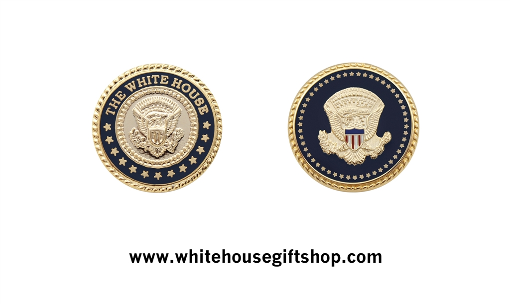 Presidential & White House Seal Lapel Pin Set, Sculpted, 24KT Gold  Finished, Both Pins Are Included in Small Blue Gift Boxes