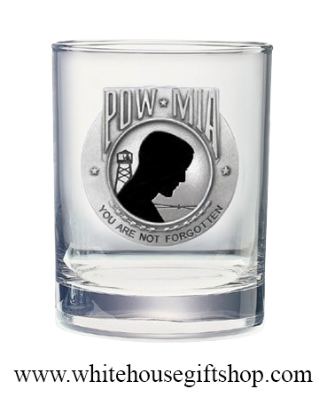 Glass, USA, Vietnam  POW MIA, 14-oz Glassware, Quality AmericanPewter & Enamel Medallion, Made in the USA!