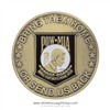 "POW, MIA Challenge Coin, clear protective capsule case, 1.5"" diameter bronze and enamel finish, engravable, from official White House Gift Shop since 1946"