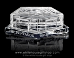 "Pentagon Glass Paperweight Display, Elegant,3 1/2"" wide x 1 1/4"" high, Washington, D.C., Packed in White Gift Style Box with Lid, White Gift Tissue, and Gold White House Gift Shop seal on lid"