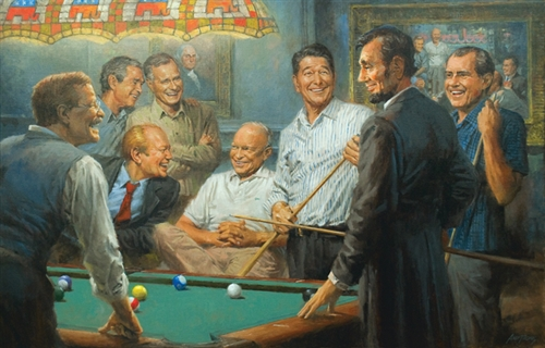 "Puzzles, Eight Presidents Playing Pool Puzzle: Reagan, Bush, Eisenhower, Nixon, Ford, GW Bush, Roosevelt, Lincoln, Made in USA, 1000 Pieces, 19"" x 13"", White House Gift Shop Official Gold Seal on Box"