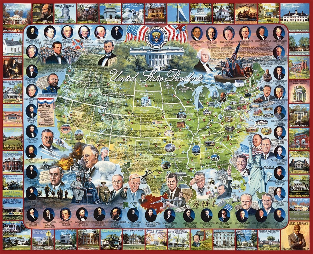 United States Map And Presidents Jigsaw Puzzle With Historical Facts - Us-map-jigsaw-puzzle