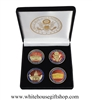 "Coins, The White House, United States Capitol Building, & Pentagon, Great Seal on Reverse of Coins, Premium Copper Core 4-Coins, Black Velvet Display and Presentation Case, Front & Reverse of Coins are Displayed, 1.5"" Diameter, Gold Plated & Red Enamels"