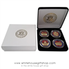 "Coins, The White House & United States Capitol Building, Great Seal on Reverse of Coins, 4 Coin Set, Black Velvet Display and Presentation Case, Front & Reverse of Coins are Displayed, 1.5"" Diameter, Gold Plated & Red Enamels"