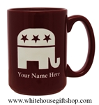 Republican Party Mugs, Add your name, Personalized, Deep Permanent Etch in USA, 15 ounce mug, personalized, Deep Burgandy Red color, custom from White House Gift Shop since 1946.