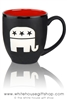 Republican Party Elephant Etched Bistro Mug, Etching in USA, Black and Red, Political Mug Collection from White House Gift Shop Est by President Truman 1946