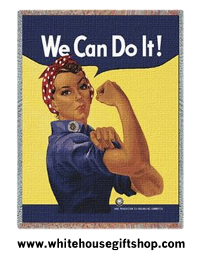 Rosie the Riveter Throw, Blanket, 100% Cotton, Machine Wash and Dry, SALE
