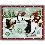 Winter White House Fun Blanket Throw of Playful Penguins, Made in USA, Official White House Gift Shop