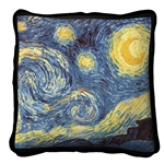 Pillow, Starry Night, Vincent Van Gogh, 17 inches by 17 inches, Made in America, Cotton Cover, matches blanket throw, from Official White House Gift Shop