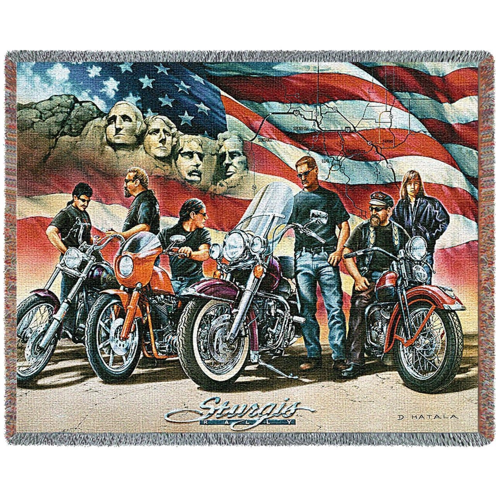 Sturgis Motorcycle Ride, American Flag Blanket Throw, 70 by 53 inches, 100%  Machine Wash and Dry, Made in the USA