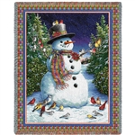 Plaid Snowman Throw Blanket, Made in the USA, 100% American Cotton