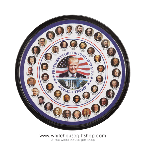 All Presidents Magnets, Portraits of Trump, Obama, all 45, Round, Size of Mug Coaster, Over 4 inches wide, Presidential Photos, from official White House Gift Shop since 1946, Dates in office included.