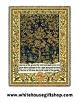 William Morris Tree of Life Genesis 2 Throw, Blanket, Soft Machine Wash-Dry  Cotton Made in USA