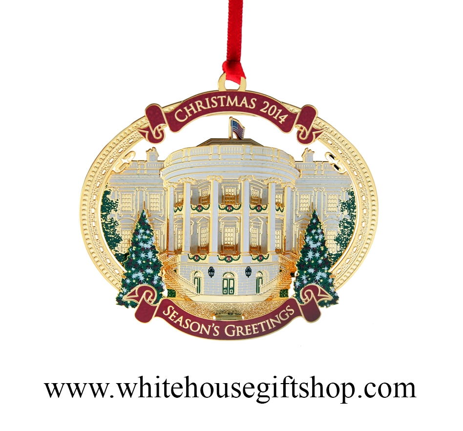 White house christmas ornaments historical society - 2014 White House Christmas Ornament Giannini Design Complete 24kt Gold Finish Truman S Balcony Honors President H S Truman Quote On Reverse Made In
