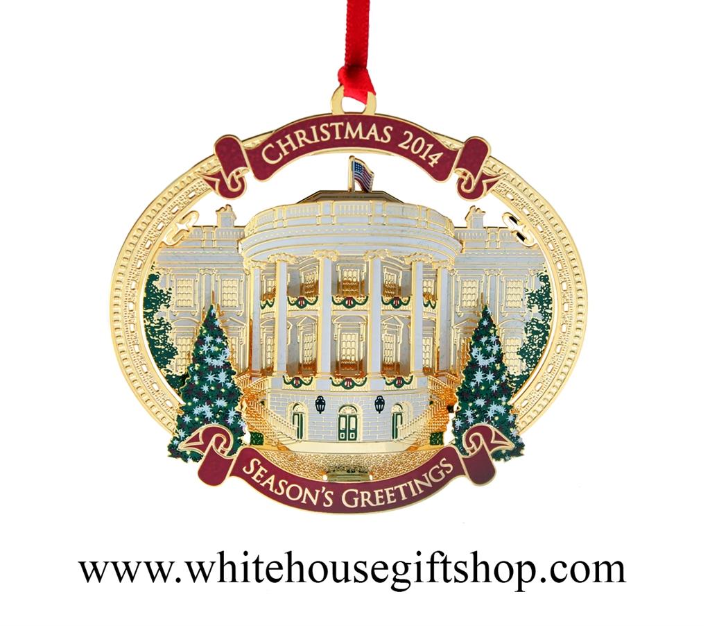 2014 White House Christmas Ornament, Giannini Design,plete 24kt Gold  Finish, Truman's Balcony, Honors President H S Truman, Quote On Reverse  Made In