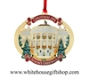 White House Christmas Ornament, 2014, 24KT Gold Finish, #26 in Collection, TRUMAN'S BALCONY, Honors President H. S. Truman, Quote on Reverse, Giannini Design, Made by Official Makers, Portion of Sale Supports National Multiple Sclerosis Society Research