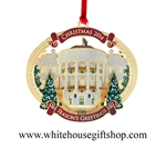 White House Christmas Ornament, 2014, 24KT Gold Finish, #26 in Collection, TRUMAN'S BALCONY, Honors President H. S. Truman, Quote on Reverse
