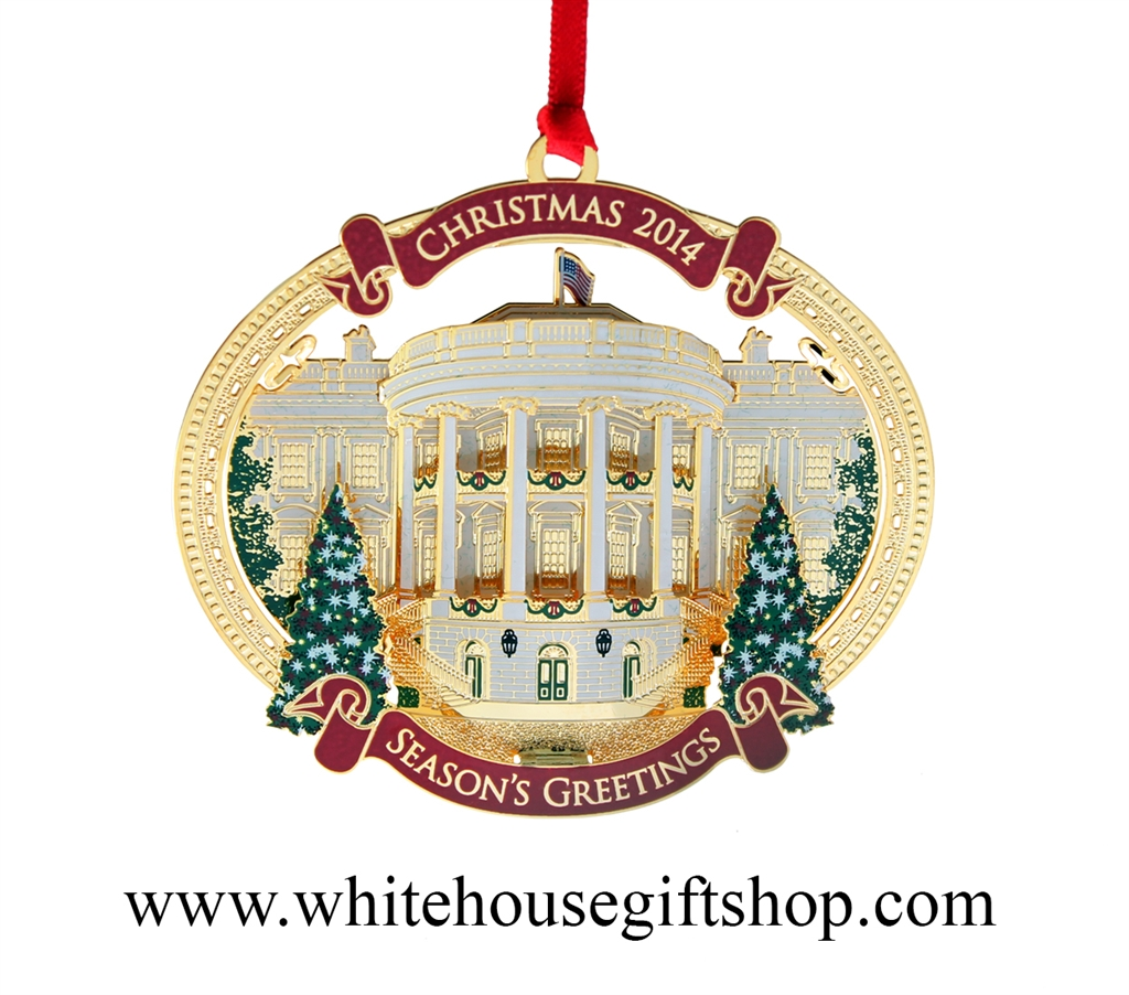 White House Christmas Ornament 2014 24kt Gold Finish 26 In