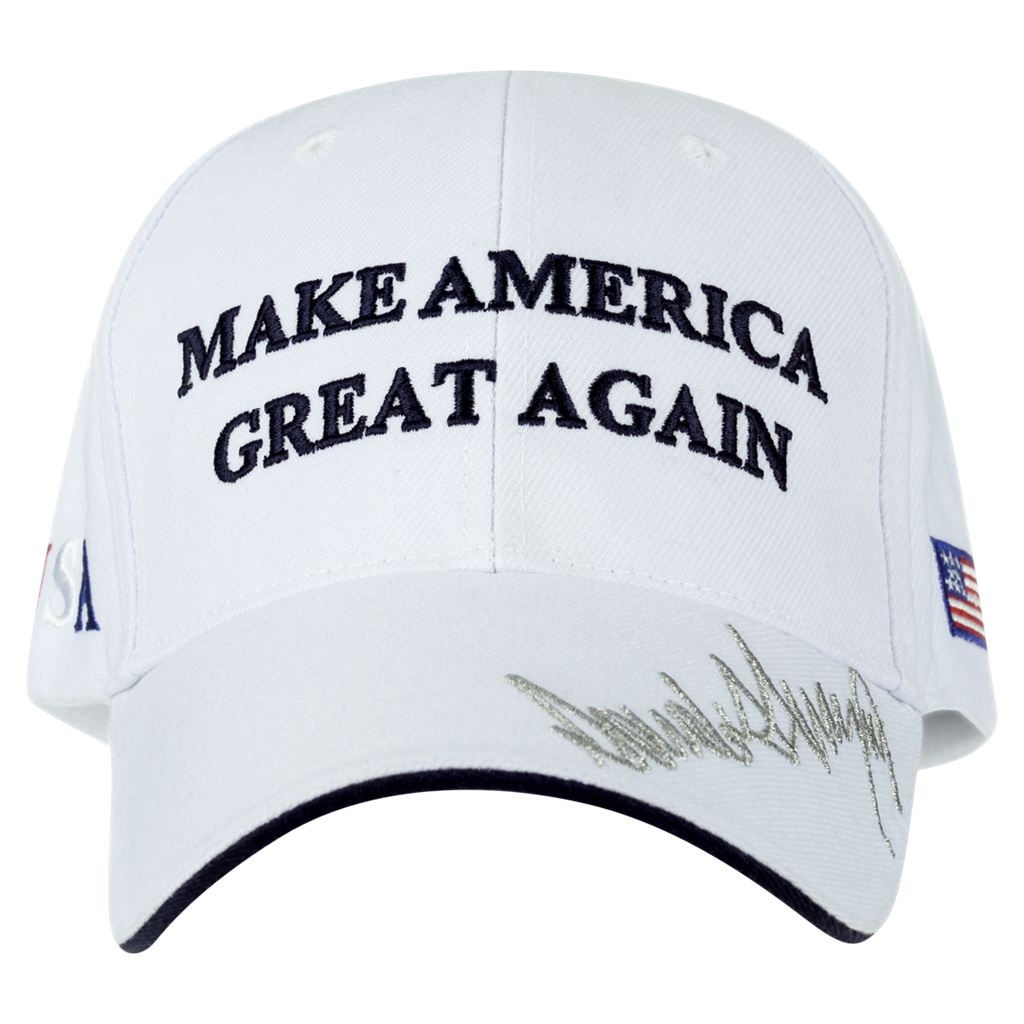 a55c8d9cf Hat, Donald J. Trump Hat, Make America Great Again, White, Silver on Brim,  Import Hat, Navy Blue Lettering, USA and Flag on Sides, Trump 45th ...