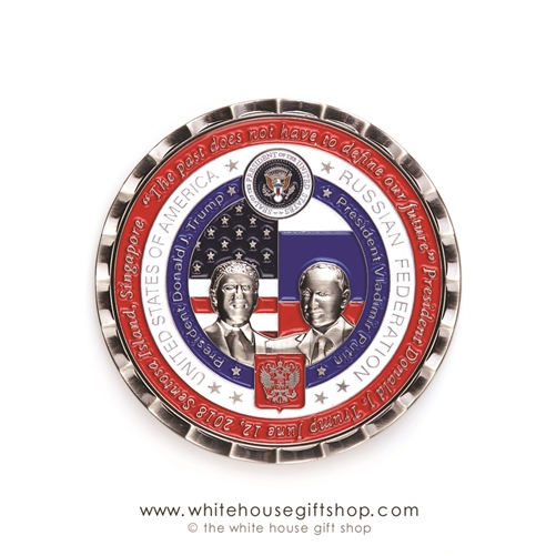 Coin, TRUMP AND PUTIN, Limited Edition, 5000 Coins, Helsinki Summit, Numbered, Certificate, Custom White House Coin Case, Historic Moments  Collection of Original Official White House Gift Shop, Rare, Giannini Translation