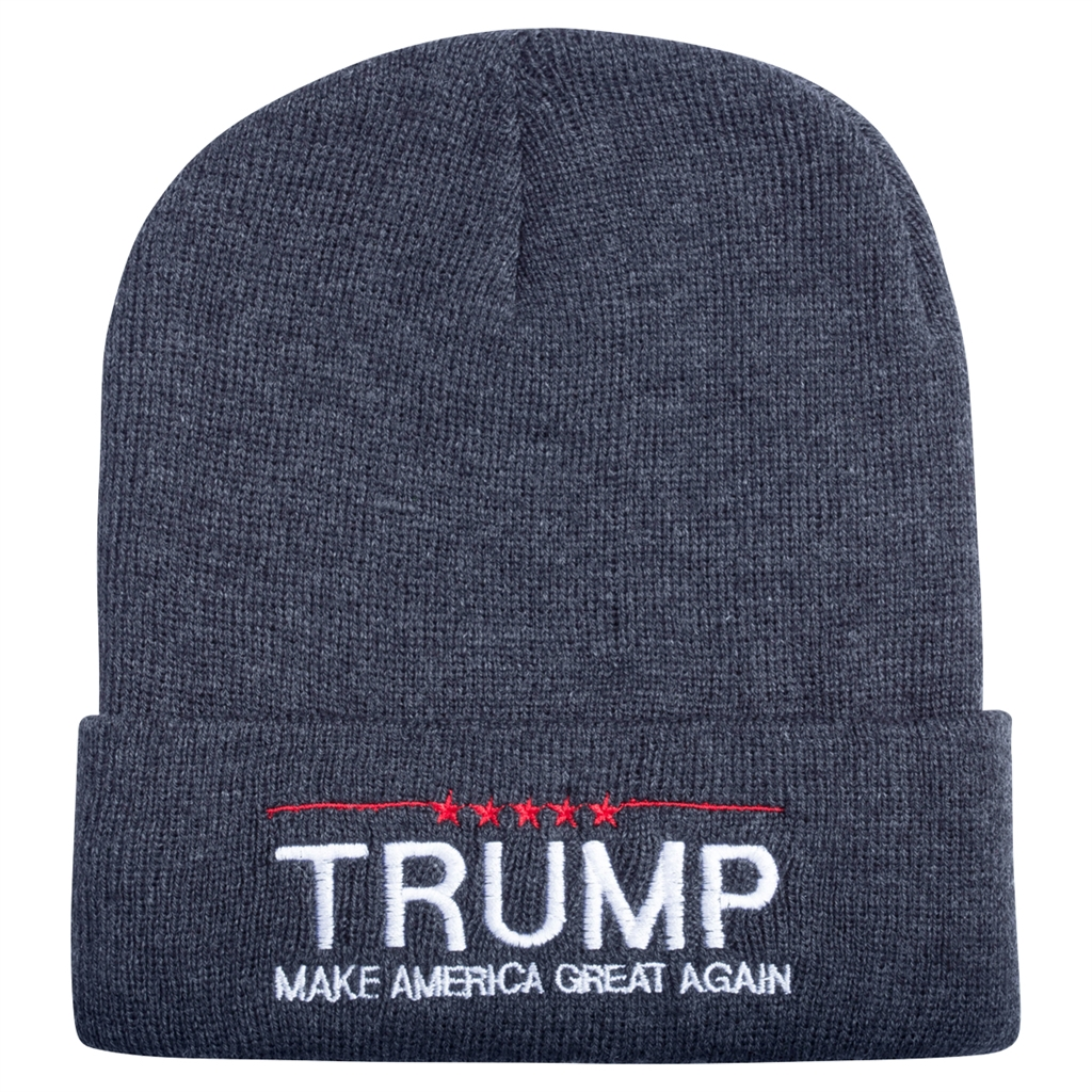 Donald Trump 2016 Embroidered Black Beanie CAP HAT with free campaign button