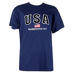 USA, American Flag, Washington D.C. 100% Cotton, T-Shirt - Navy Blue