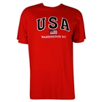 USA, American Flag,Washington D.C. 100% Cotton T-Shirt - Red