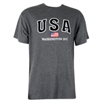 USA, American Flag Cotton Washington D.C. T-Shirt - Dark Gray