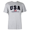 USA, American Flag T Shirt, Washington D.C. 100% Cotton - Light Gray