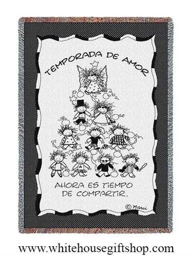 Temporada De Amor, Seasons of Love, Spanish Text, Throw Blanket, SALE